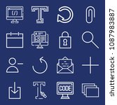 set of 16 web outline icons...   Shutterstock .eps vector #1087983887