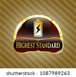 gold shiny badge with battery... | Shutterstock .eps vector #1087989263