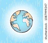 globe icon earth planet shining ...