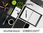 multiple stationery items and... | Shutterstock . vector #1088012657