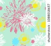 vector floral seamless pattern | Shutterstock .eps vector #1088018657