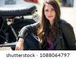beautiful sexy stylish biker... | Shutterstock . vector #1088064797