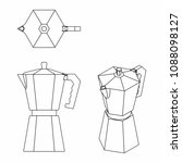 coffee pot outline only | Shutterstock .eps vector #1088098127