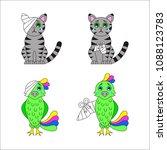 injured cat and parrot. broken... | Shutterstock .eps vector #1088123783