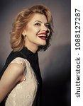 retro sensual happy woman with...   Shutterstock . vector #1088127287