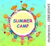 children enjoying summer camp... | Shutterstock .eps vector #1088185043