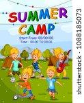 children enjoying summer camp... | Shutterstock .eps vector #1088185073