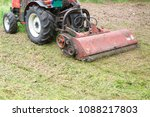 Tractor With Lawn Mowing Grass...