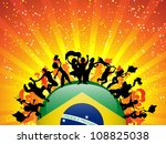 Vector - Brazil Sport Fan Crowd with Flag - stock vector