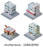 Vector isometric buildings set - stock vector