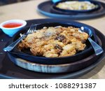 hot pan of hoi tod which is... | Shutterstock . vector #1088291387