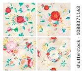 vintage peony watercolor pattern | Shutterstock . vector #1088371163