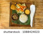 top view cooked rice  salad and ... | Shutterstock . vector #1088424023