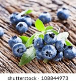 blueberries with leaves on a... | Shutterstock . vector #108844973
