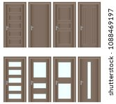 door  a set of realistic brown... | Shutterstock .eps vector #1088469197