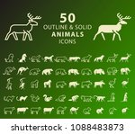 set of 50 outline and solid... | Shutterstock .eps vector #1088483873
