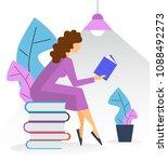 cute brunette girl reading book ... | Shutterstock .eps vector #1088492273