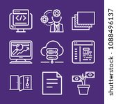 set of 9 web outline icons such ... | Shutterstock .eps vector #1088496137