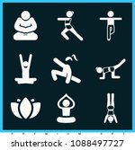 set of 9 yoga filled icons such ... | Shutterstock .eps vector #1088497727