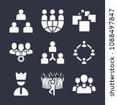 set of 9 group filled icons... | Shutterstock .eps vector #1088497847