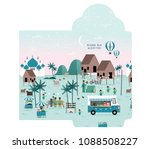 hari raya kampung scene money...   Shutterstock .eps vector #1088508227