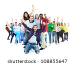 happy group of people with arms ... | Shutterstock . vector #108855647