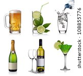 Beverages collage with beer, cocktails, champagne and white wine - stock photo