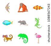 earth fauna icons set. cartoon... | Shutterstock . vector #1088567243