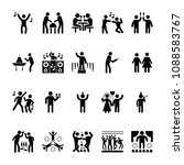 party human glyph icon pack  | Shutterstock .eps vector #1088583767