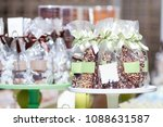 chocolate and candy in bags... | Shutterstock . vector #1088631587