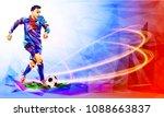 soccer player against the... | Shutterstock .eps vector #1088663837