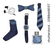men's accessories blue color... | Shutterstock .eps vector #1088668037