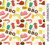 barbeque vector seamless... | Shutterstock .eps vector #1088688293