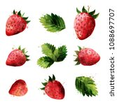 strawberry on white background. ... | Shutterstock . vector #1088697707