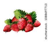 strawberry on white background. ... | Shutterstock . vector #1088697713