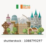 Ireland vector illustration with landmarks and irish castle. Colorful travel template. | Shutterstock vector #1088795297