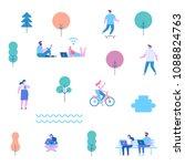 flat illustration of people... | Shutterstock .eps vector #1088824763