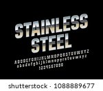 vector stainless steel alphabet ... | Shutterstock .eps vector #1088889677