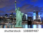 brooklyn bridge and the statue... | Shutterstock . vector #108889487