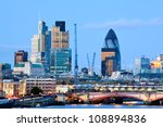 London Skylines at dusk England UK - stock photo