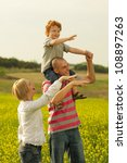 happy family. father holding... | Shutterstock . vector #108897263
