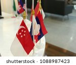 aec flag stand on white top... | Shutterstock . vector #1088987423