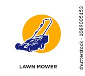 lawn mower logo isolated on... | Shutterstock .eps vector #1089005153
