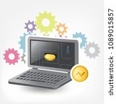 nano cryptocurrency coin laptop ... | Shutterstock .eps vector #1089015857