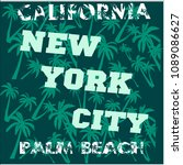 t shirt los angeles california  ... | Shutterstock .eps vector #1089086627