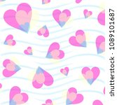 sweet love hearts on waves of... | Shutterstock .eps vector #1089101687