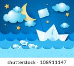 paper boat  at night | Shutterstock .eps vector #108911147