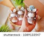 handmade knitted toy. easter...   Shutterstock . vector #1089133547