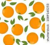 seamless pattern with oranges... | Shutterstock .eps vector #1089160253