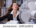 mature businesswoman cooling... | Shutterstock . vector #1089163853